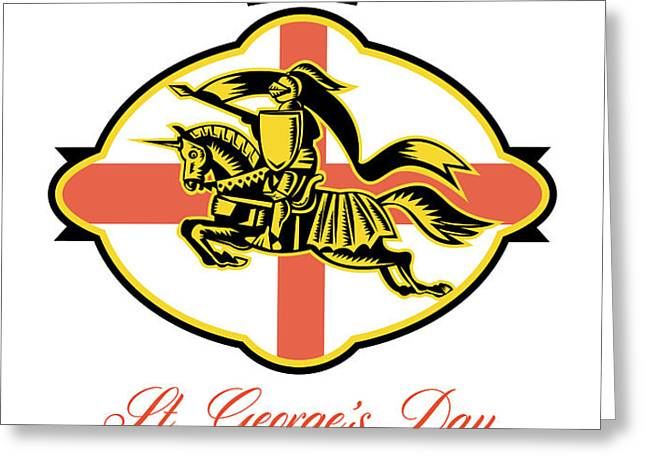 Celebrate St. George Day Proud to Be English Retro Poster Greeting Card by Aloysius Patrimonio