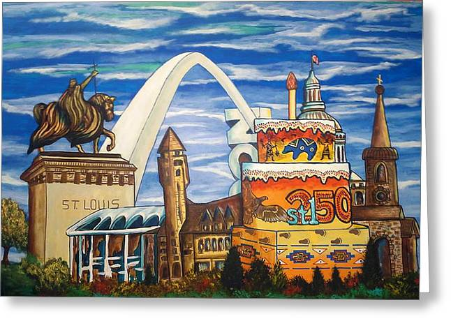 Mound Paintings Greeting Cards - Celebrate-STL 250 Greeting Card by Mark SWAIN