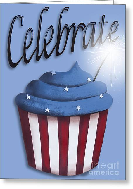 Independence Day Art Greeting Cards - Celebrate the 4th / Blue Greeting Card by Catherine Holman