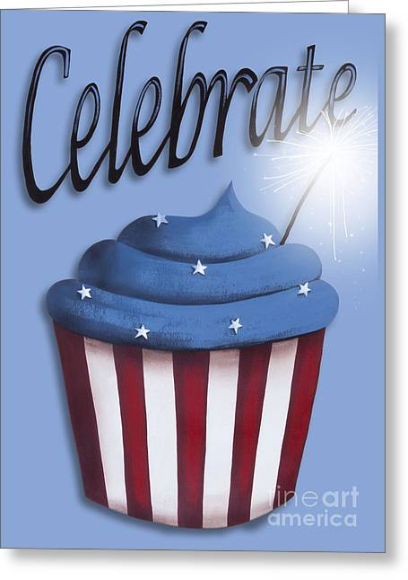 4th July Paintings Greeting Cards - Celebrate the 4th / Blue Greeting Card by Catherine Holman