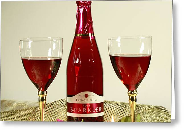 Celebrate with Sparkling Rose Wine Greeting Card by Inspired Nature Photography By Shelley Myke