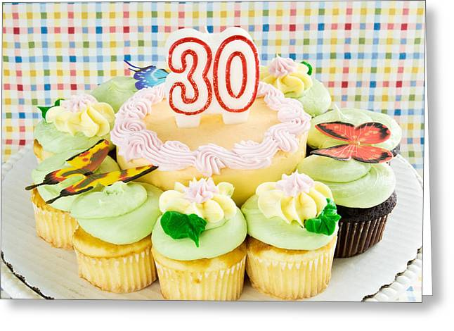 Candle Stand Greeting Cards - Birthday Cake and Cupcakes Celebrating 30 Greeting Card by Vizual Studio