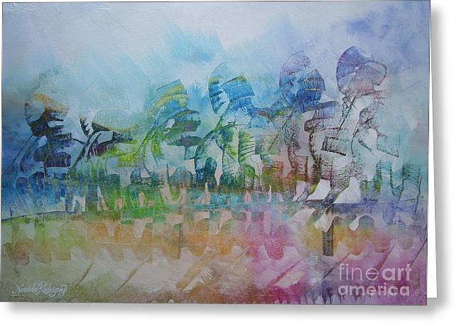 Strategy Paintings Greeting Cards - Celebrating Victory Greeting Card by Nereida Rodriguez