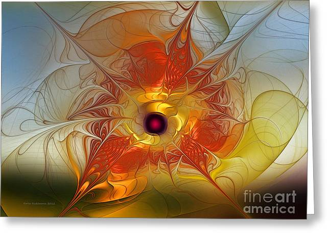 Image Composition Greeting Cards - Celebration for a rising Star-Abstract Fractal Art Greeting Card by Karin Kuhlmann