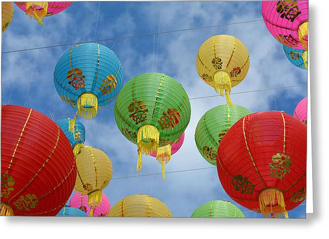 Chinese New Year Greeting Cards - Celebration In The Sky 8 Greeting Card by Fraida Gutovich
