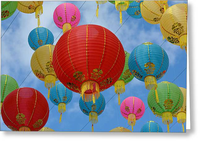 Chinese New Year Greeting Cards - Celebration In The Sky 9 Greeting Card by Fraida Gutovich