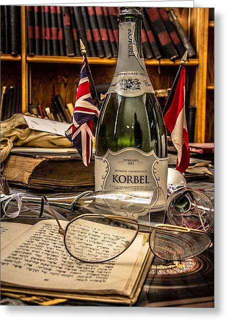 Champagne Glasses Greeting Cards - Celebration  Greeting Card by Lorraine Mahoney