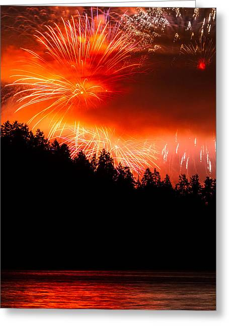 Lights Of Vancouver Greeting Cards - Celebration of light Canada from West Vancouver Greeting Card by Pierre Leclerc Photography