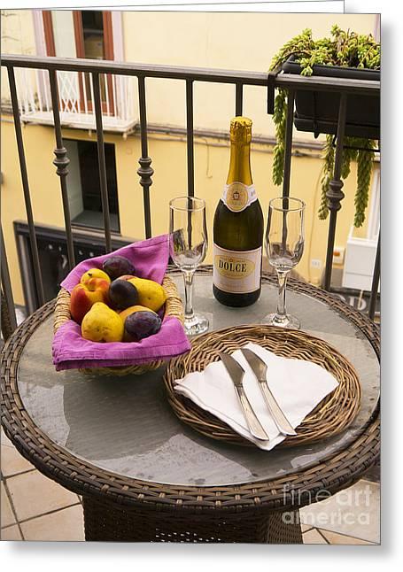Prosecco Greeting Cards - Celebration on an Italian Balcony Greeting Card by Brenda Kean