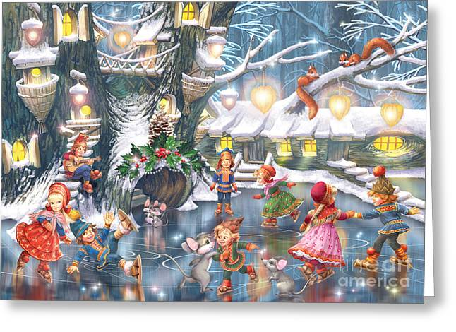 Seasonal Digital Art Greeting Cards - Celebration on Ice Greeting Card by Zorina Baldescu