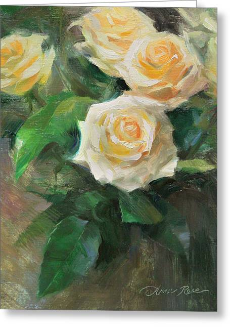 White Rose Greeting Cards - Celebration Roses Greeting Card by Anna Bain