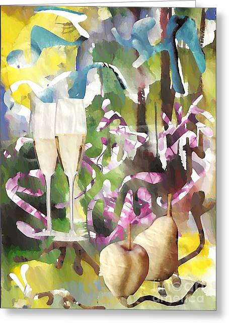 Party Wine Greeting Cards - Celebration Greeting Card by Sarah Loft