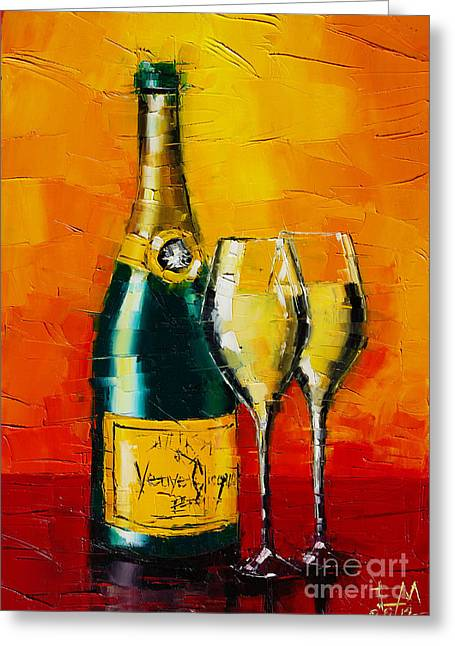 Champagne Glasses Greeting Cards - Celebration Time Greeting Card by Mona Edulesco