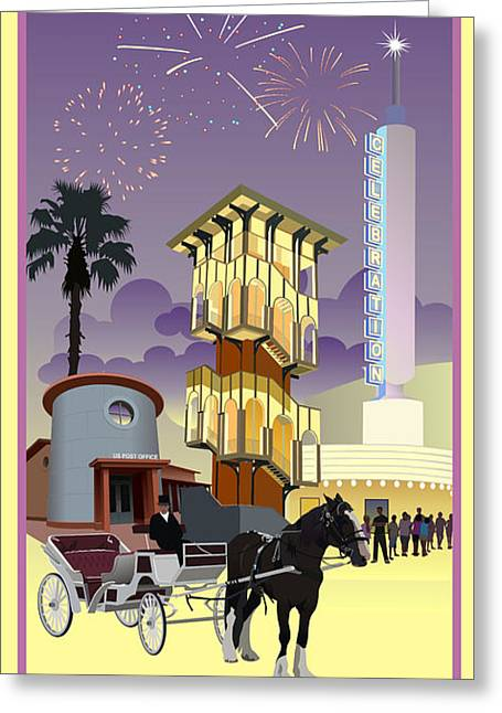 Horse-drawn Digital Art Greeting Cards - Celebration Town Center Greeting Card by Jim Sanders