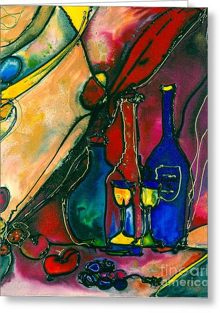 Pinot Mixed Media Greeting Cards - Celebration Greeting Card by Twyla Gettert