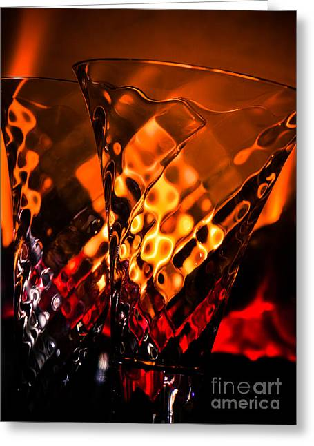 Champagne Glasses Greeting Cards - A Celebration of Light Greeting Card by Joy McAdams