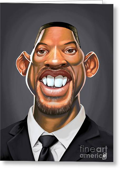 Actor Drawings Greeting Cards - Celebrity Sunday - Will Smith Greeting Card by Rob Snow
