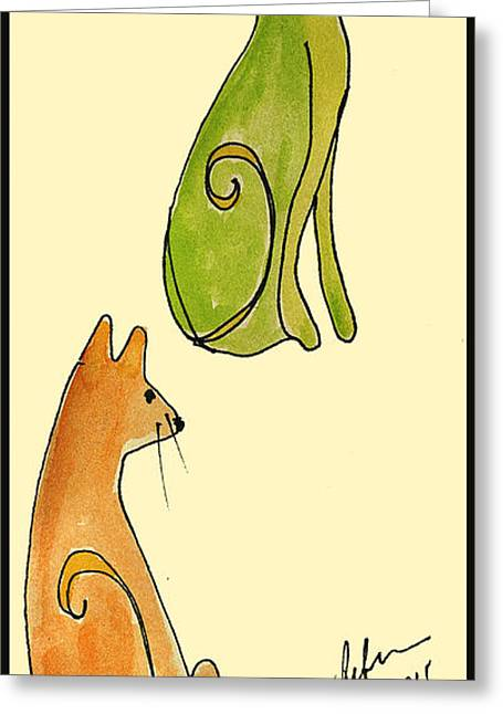 Pen And Paper Greeting Cards - Celery and Carrots. A pair of silly cats.  Greeting Card by Cathy Peterson