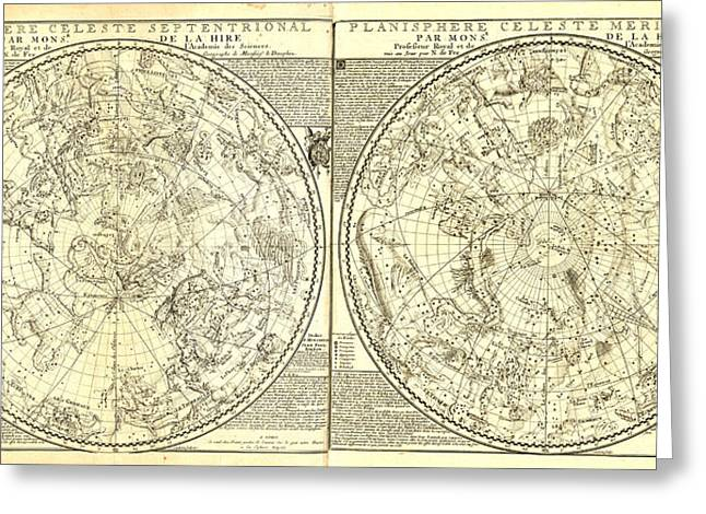 Antique Digital Greeting Cards - Celeste Planisphere Greeting Card by Gary Grayson