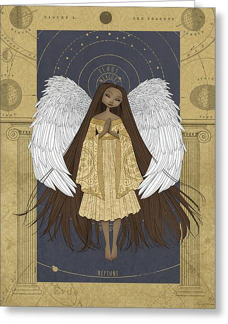 Heavenly Body Greeting Cards - Celestial Angel Greeting Card by Karyn Lewis Bonfiglio