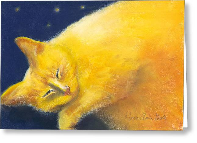 Greeting Cards - Celestial Cat Greeting Card by Marie-Claire Dole