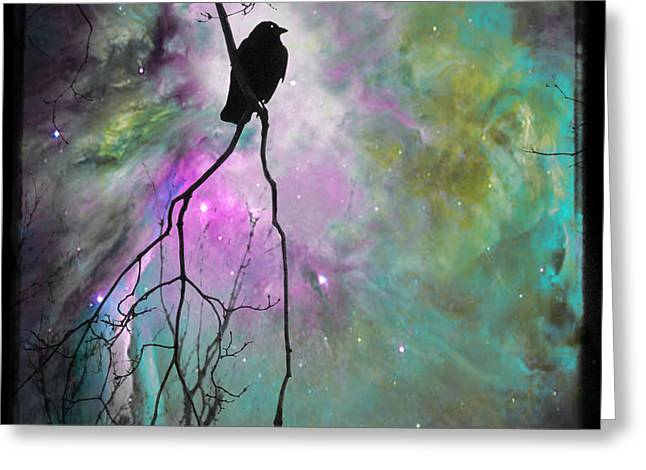 Crow Image Greeting Cards - Celestial Dream Crow Greeting Card by Gothicolors Donna Snyder