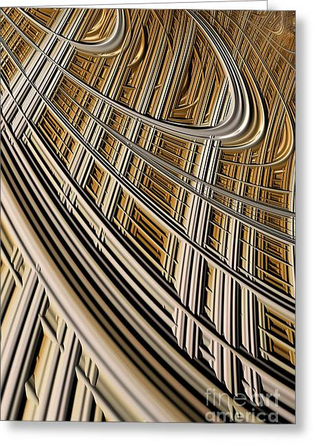 Geometric Effect Greeting Cards - Celestial Harp Greeting Card by John Edwards