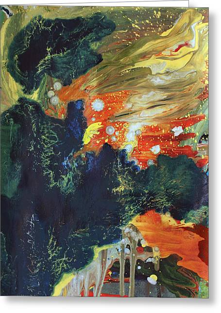 Fire And Water Greeting Cards - Celestial Landscape Greeting Card by Ethel Vrana