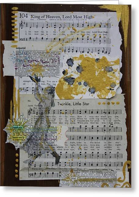 Twinkle Mixed Media Greeting Cards - Celestial Lullaby Greeting Card by Allison Fox