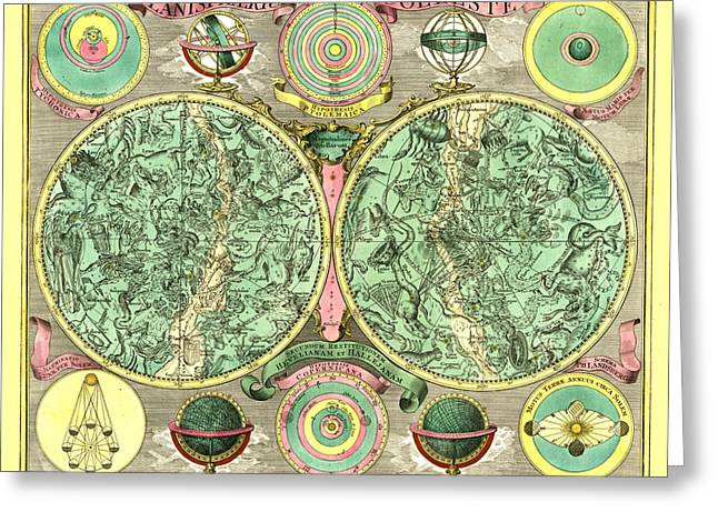 Antique Digital Greeting Cards - Celestial Map Greeting Card by Gary Grayson