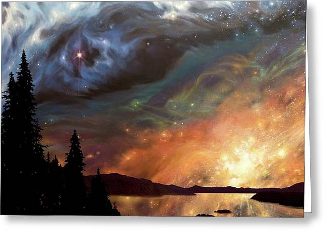 Surreal Landscape Greeting Cards - Celestial Northwest Greeting Card by Lucy West