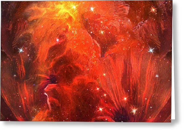 Nasa Mixed Media Greeting Cards - Celestial Poppies - Red Greeting Card by Carol Cavalaris