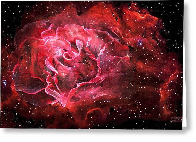 Nasa Mixed Media Greeting Cards - Celestial Rose Greeting Card by Carol Cavalaris