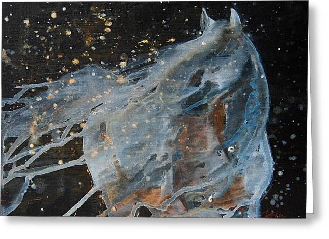 Breezy Mixed Media Greeting Cards - Celestial Stallion  Greeting Card by Jani Freimann
