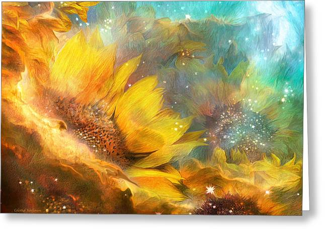 Nasa Mixed Media Greeting Cards - Celestial Sunflowers Greeting Card by Carol Cavalaris