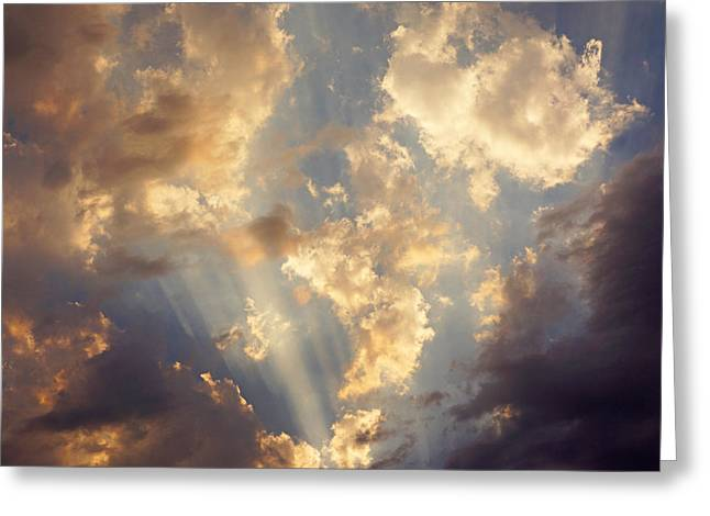 Storm Prints Photographs Greeting Cards - Celestial Twilight Sunset Art Prints Sunrays Greeting Card by Baslee Troutman