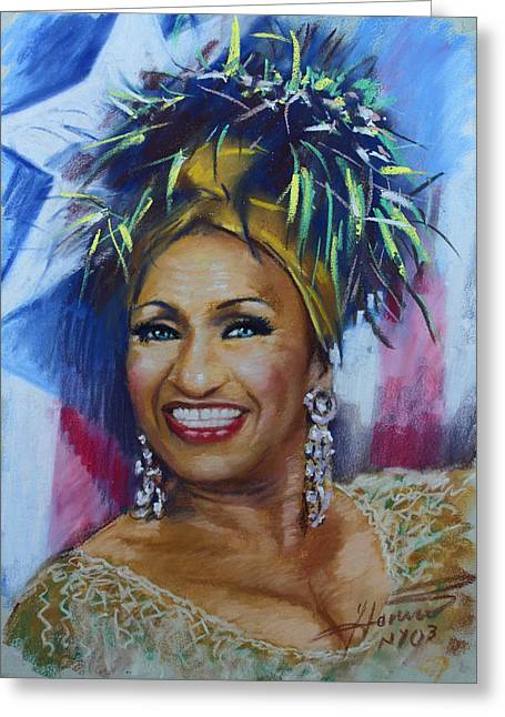 Cuban Greeting Cards - Celia Cruz Greeting Card by Viola El
