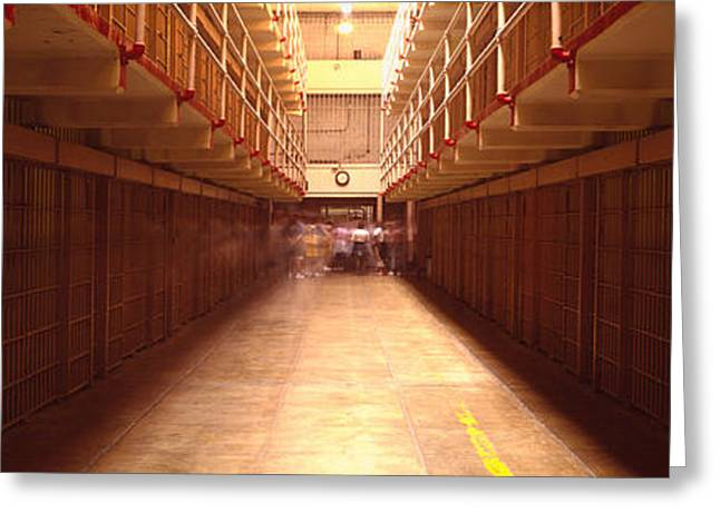 Alcatraz Greeting Cards - Cell Block In A Prison, Alcatraz Greeting Card by Panoramic Images