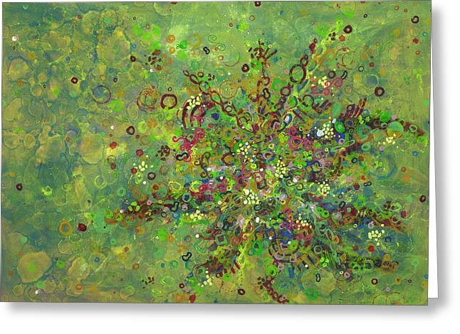 Cancer Paintings Greeting Cards - Cell No.4 Greeting Card by Angela Canada-Hopkins
