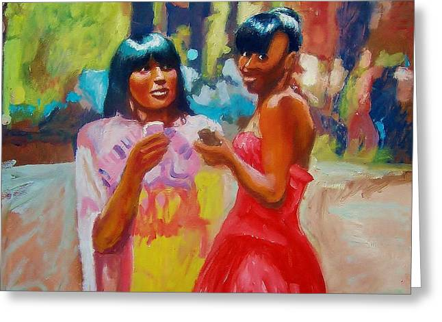 Cellphone Paintings Greeting Cards - Cell Phone Gals Greeting Card by Anthony Renardo Flake