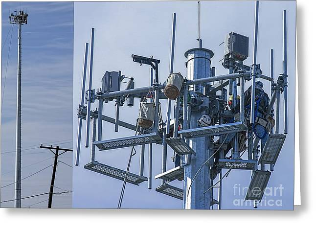Install Greeting Cards - Cell Tower Workers Greeting Card by D Wallace