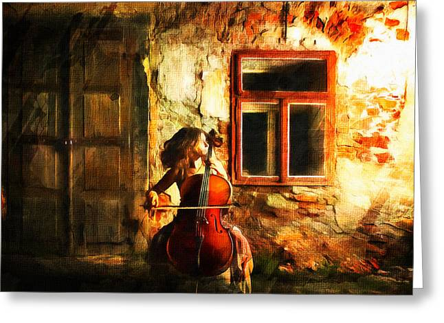 Fine Mixed Media Greeting Cards - Cellist By Night Greeting Card by Georgiana Romanovna