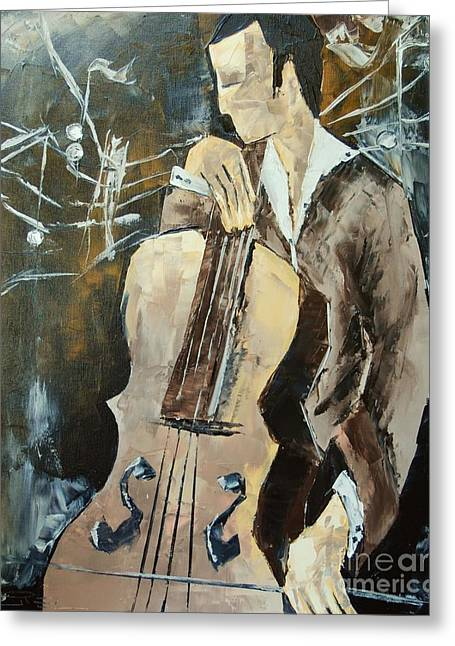 Victoire Paintings Greeting Cards - Cellist In Sepia Greeting Card by Atelier De  Jiel
