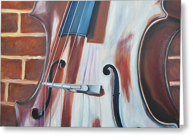 Chello Greeting Cards - Cello and Brick Greeting Card by Vanda Bleavins