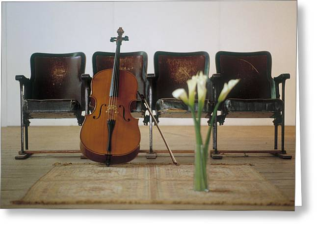 Stringed Instrument Greeting Cards - Cello Leaning On Attached Chairs Greeting Card by Panoramic Images
