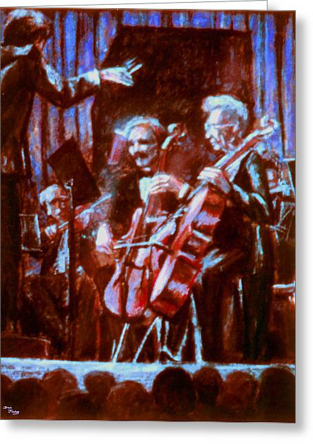 Concerts Pastels Greeting Cards - Cello_concerto_sketch Greeting Card by Dan Terry