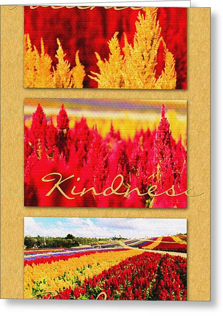 Celosia With Patience Kindness Goodness Greeting Card by Beverly Claire Kaiya
