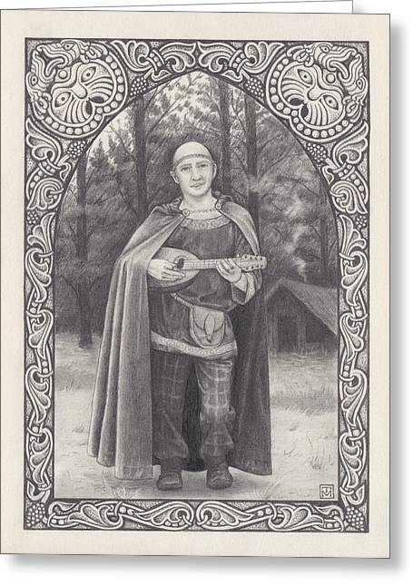 Lute Drawings Greeting Cards - Celtic bard Greeting Card by Tania Crossingham