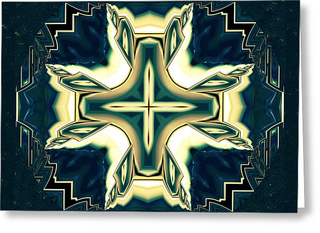 Celtic Cross Abstract Greeting Card by Georgiana Romanovna