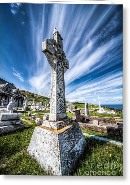 Grave Yard Greeting Cards - Celtic Cross Greeting Card by Adrian Evans
